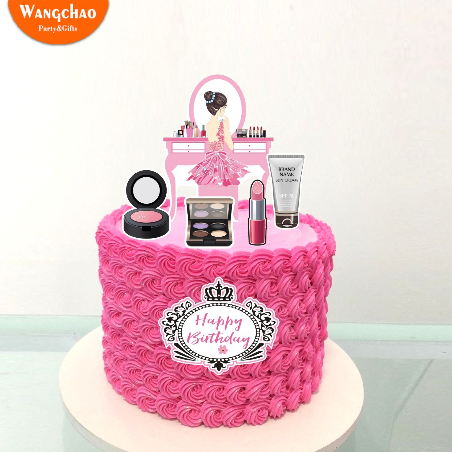 Stupendous Travel Cake Topper Romantic Girl Cosmetics Dessert Table 21St Funny Birthday Cards Online Ioscodamsfinfo
