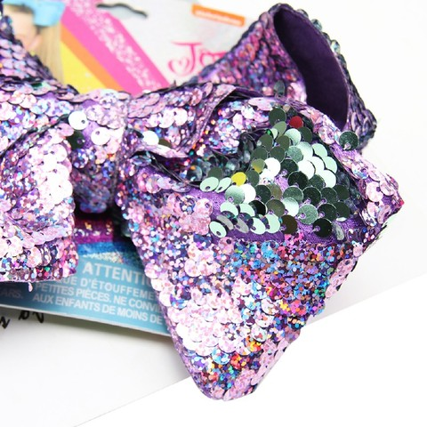 7' jojo siwa Bows for Girls Laser Mermaid Reversible Sequin Bowknot Hairgrips Party Shiny Hair Clips for Girls Hair Accessories Islamabad