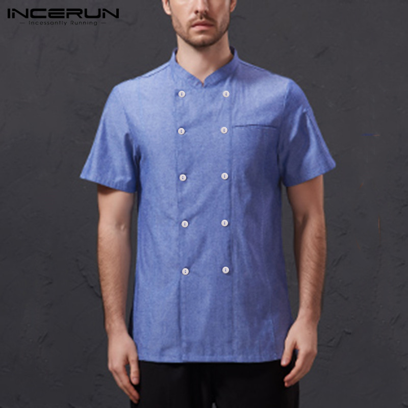 INCERUN Men Chef Uniform Short Sleeve Solid Color Stand Collar Double Breasted Kitchen Food Service Restaurant Tops Chef Jackets