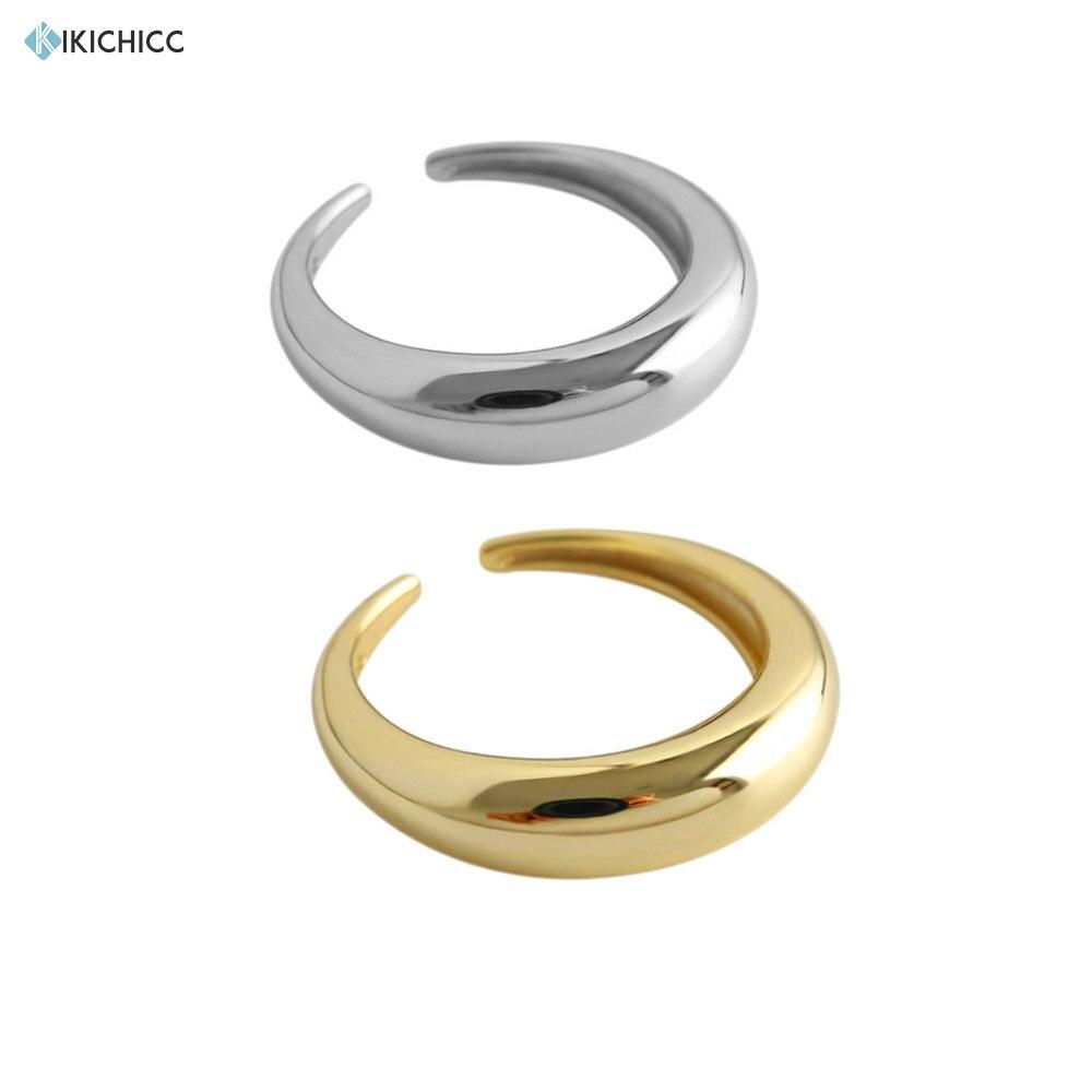 Kikichicc 925 Sterling Silver Plain Circle Moon Ring Women Adjustable Jewelry Smooth Geometric Polishing Rings Resizable