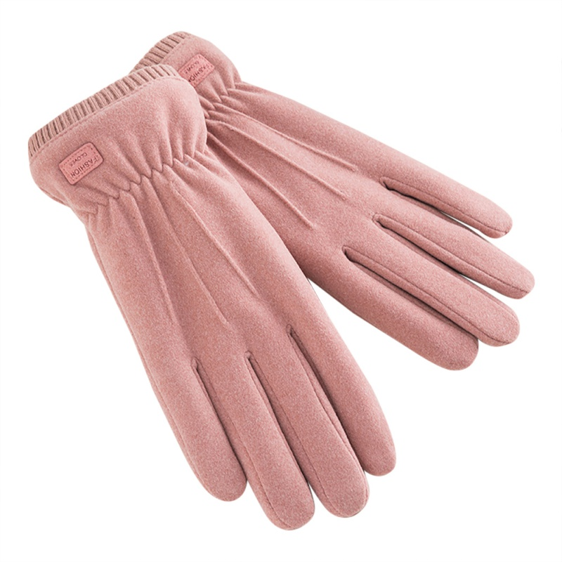 Touch Screen Five-finger Gloves Windproof Plush Mouth Solid Color Winter Gloves Unisex Mittens