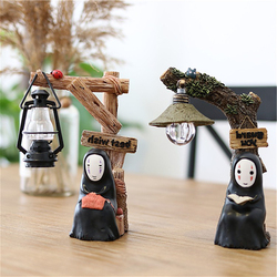 Resin LED Night Light Cartoon Faceless Men Anime Spirited Away Hand-made Table Lamp Fairy Garden Desktop Decoration Doll Gifts