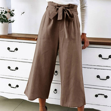 Women Casual Loose Wide Leg Pants Female Elegant Fashion Preppy Style Trousers Pure Color Ladies Lace Up Bow