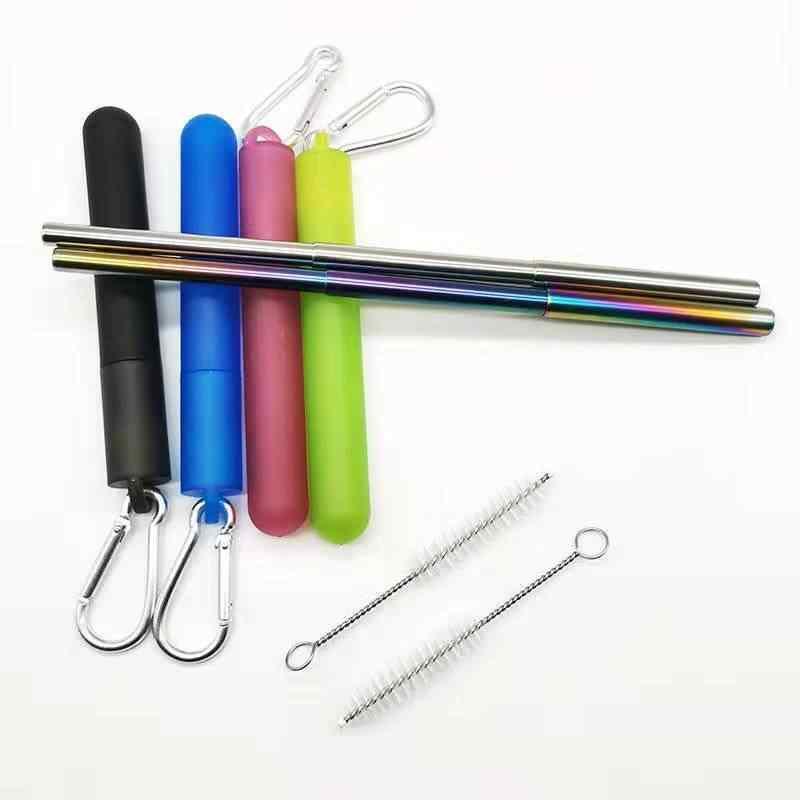 Pailles rétractables de Tube de couleur d'acier inoxydable de trois Sections avec la boîte de stockage en plastique avec la boucle pour des boissons chaudes froides etc.