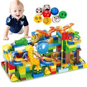 Image 1 - 168pcs Marble Race Run Maze Ball Slide Track City Building Blocks Plastic Kids Educational Assemble Toys for Children Gifts