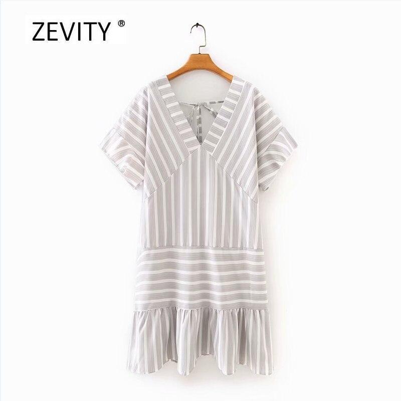 New Women vintage v neck striped print patchwork hem ruffles mini dress Lady back v bow kimono Vestido Chic party Dresses DS4068