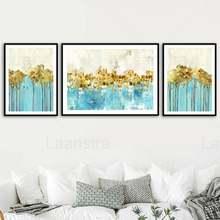Абстрактная живопись на холсте с изображением Золотого Леса