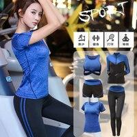 Female Sets 5 Piece Set Yoga For Women's Running Fitness T Shirt Sports Bra Wear Fitness Clothing Women Training Set Sport Suit