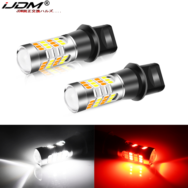 Bombillas LED iJDM de 12V T15, blancas/Rojas, de doble Color 912 921 W16W para Honda Kia Nissan Toyota, luces de retroceso de marcha atrás y antiniebla traseras