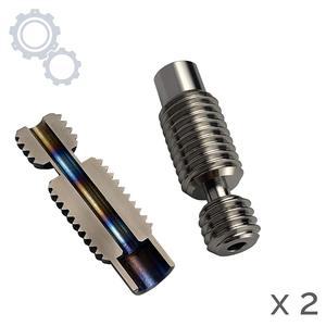 Funssor 2pcs Titanium V6 heat break V2.0 1.75mm, All-Metal V6 hotend titanium throat for PEEK PETG high temperature filament