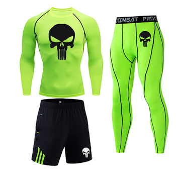 цена на Jogging suit Men's Thermal underwear Compression Sportswear Base layer Training kit spandex tights skull Print Thermal suit 4XL
