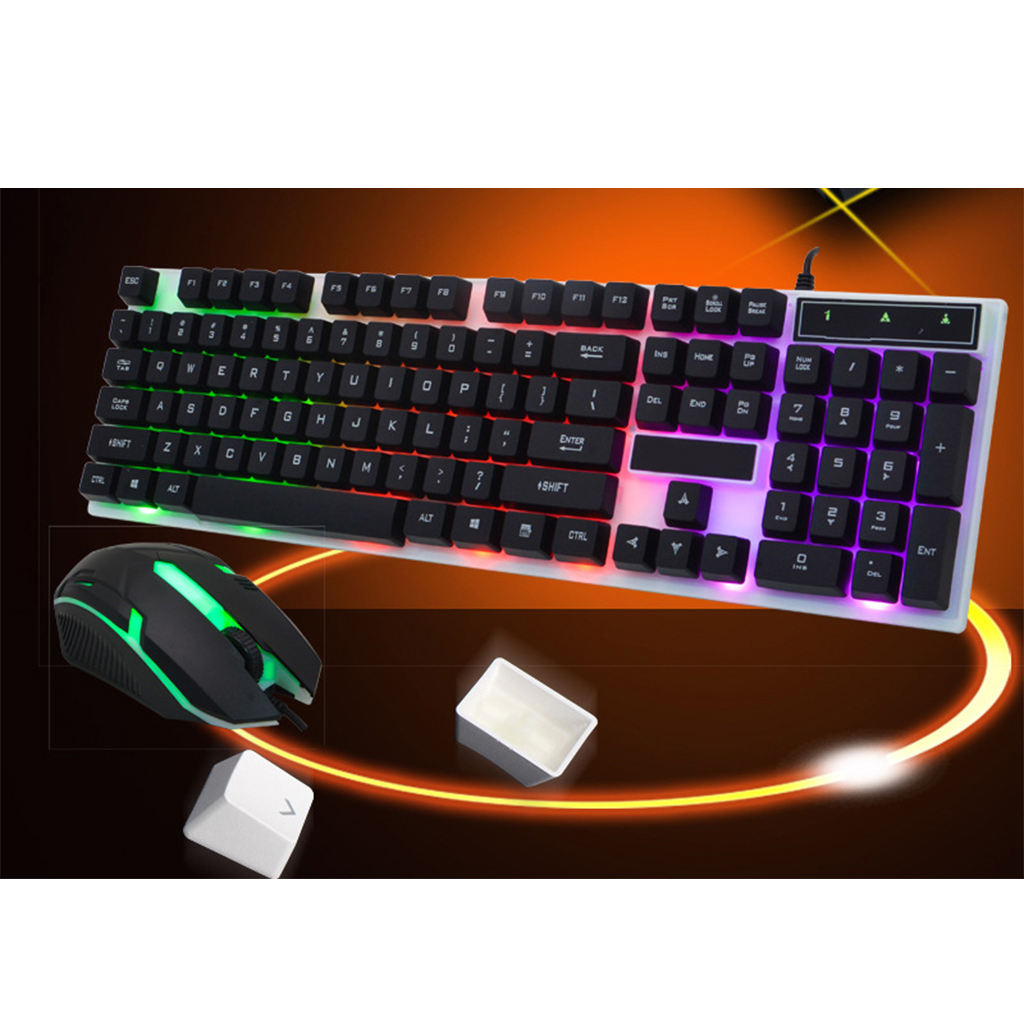 Wired 104 Keys Keyboard Mouse Combo Backlights USB Connection For PC Laptop Notebook