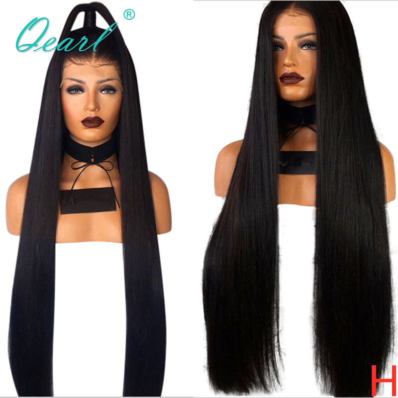 Long Silky Straight Lace Front Wigs For Women Human Hair Wig Brazilian Remy Hair Pre Plucked Middle Part 13x4 150% 180% Qearl