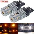 2 stücke 1157 BAY15D T20 7443 T25 3157 LED Dual Farbe Blinker Licht Auto DRL Weiß Bernstein Birne Lampe p21/5W W21/5W Auto Switch