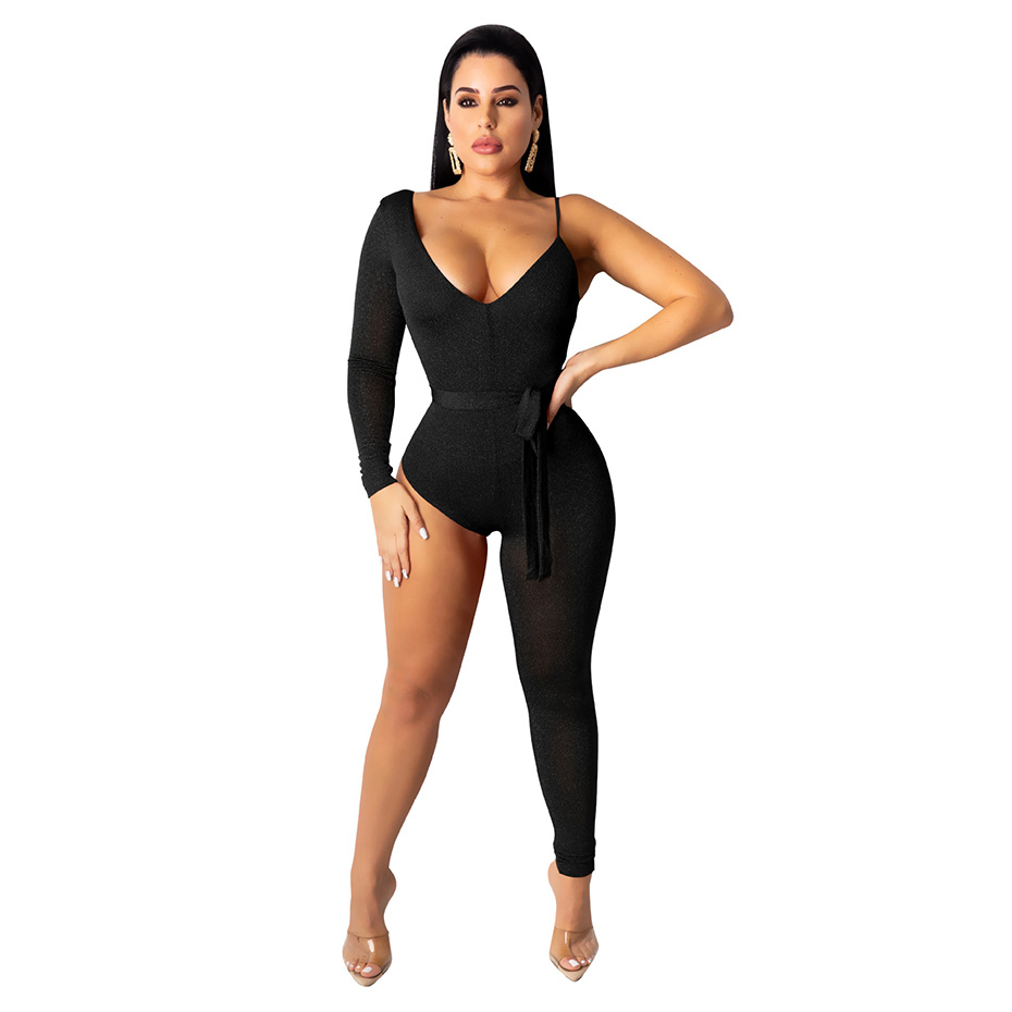 HAOYUAN One Legged Sexy Bodycon Jumpsuit Fashion Nova Festival Overalls One Piece Outfits Bodysuit Club Rompers Womens Jumpsuit
