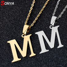 SONYA A To Z Stainless Steel 26 Letters Initial Necklace For Women Alphabet Necklaces Pendants Friends Family Gifts Necklace