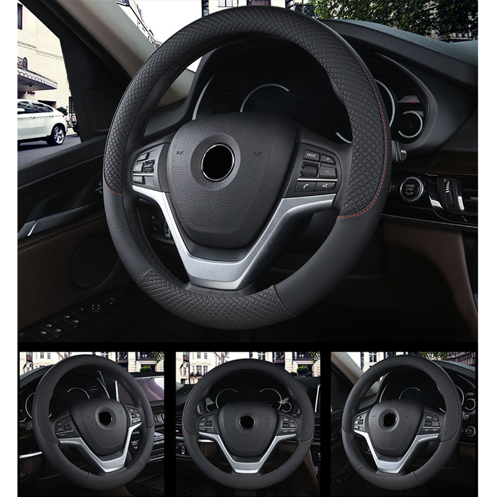 Black Auto Steering Wheel Cover Protector Anti-Slip Interior Decoration Wraps