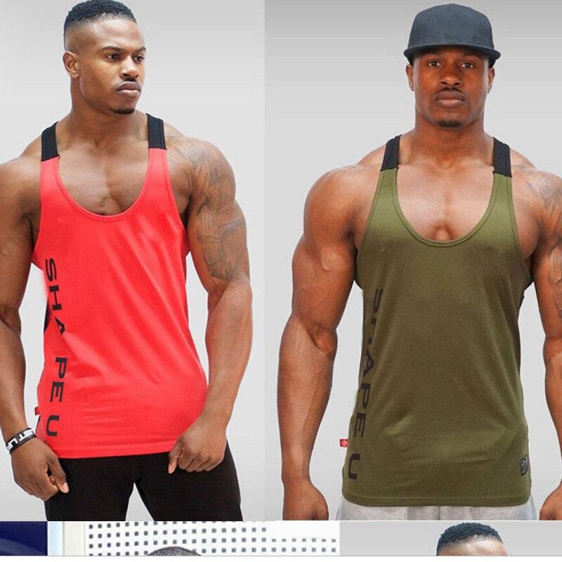 Men Gym Bodybuilding Singlet Stringer Fitness Sport Workout Tank Top Vest Ripped
