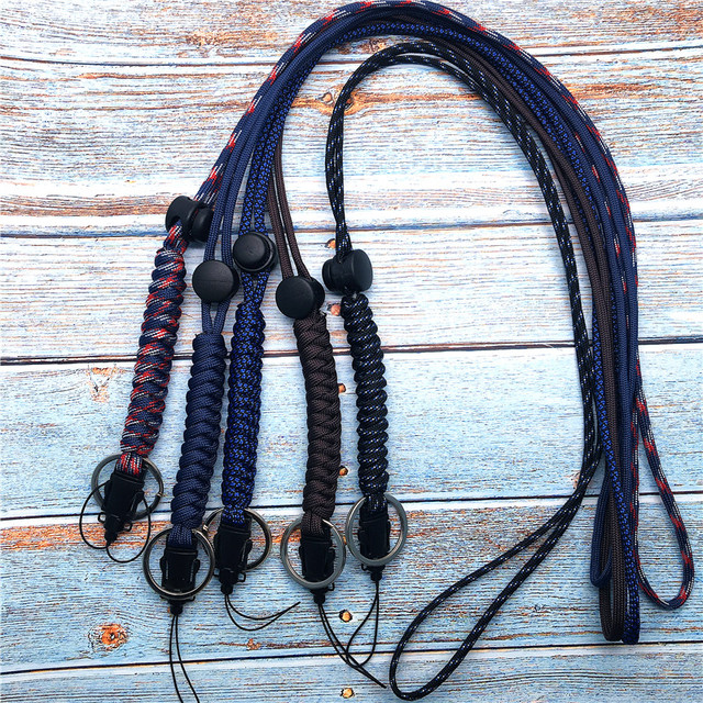 Lanyard for phone Military Grade Utility Necklace Lanyard Keychain Whistles Cord Wrist Strap with Metal Hook for Outdoor