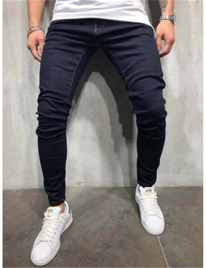 2019 Men's Slim Jeans Pants Casual Men Washed Denim Pants Mens Skinny Distressed Jeans Gray Jeans Black Plus Size 3XL Trousers