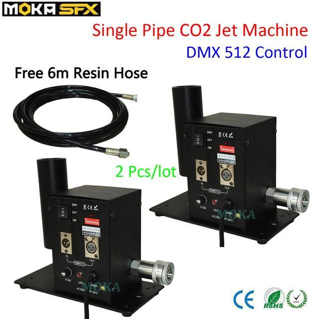 2 قطعة/الوحدة بالجملة DMX 512 مرحلة Co2 طائرة آلة الجافة الجليد الضباب تأثير ، CO2 الدخان آلات المؤثرات الخاصة مدفع