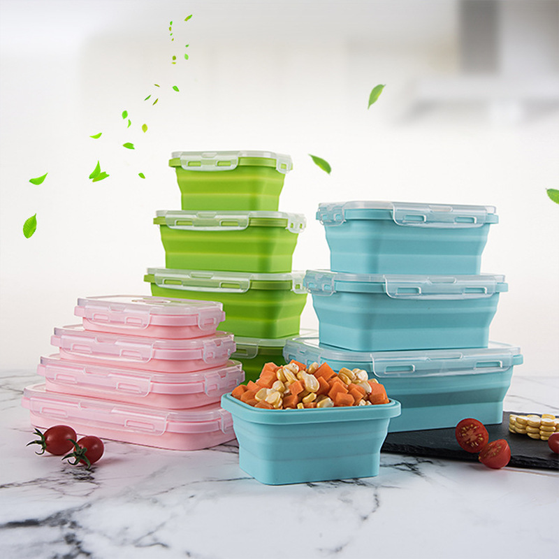 Silicone Folding Bento Box Collapsible Portable Lunch Box For Food Dinnerware Food Container Bowl For Children Adult