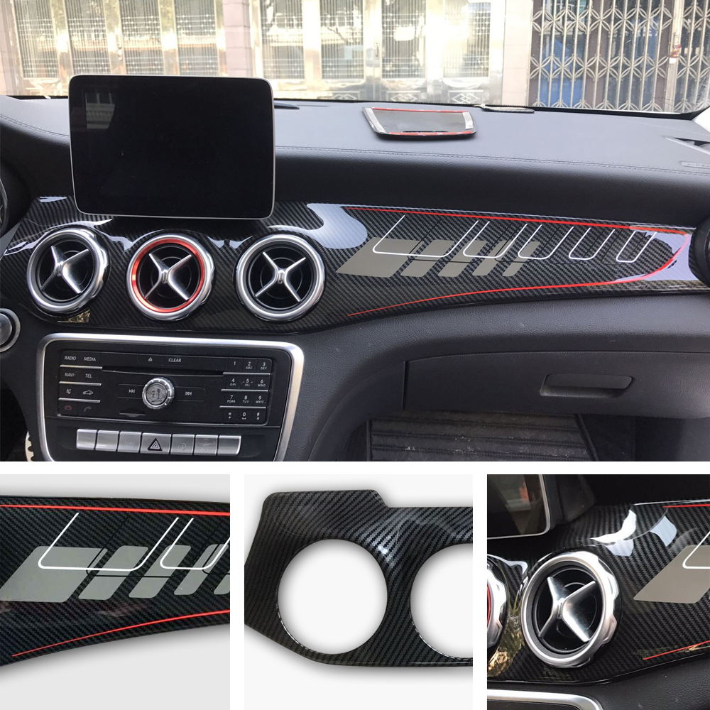 Carbon fiber car stickers modified interior control panel accessories For <font><b>Mercedes</b></font> GLA/CLA250 <font><b>w117</b></font>/GLA X156/220/GLA AMG/<font><b>CLA</b></font> 45 image