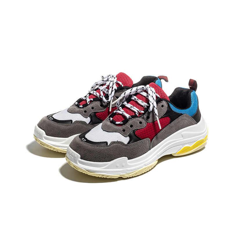 2019 bahar Vintage kadınlar rahat ayakkabılar örgü platformu beyaz kadınlar baba Sneakers dantel-up takozlar ayakkabı Zapatos Mujer ayakkabı