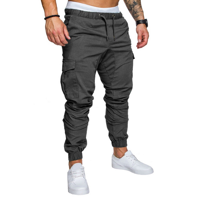 DIHOPE Trousers Clothing-Pockets Cargo-Pants Joggers Gym Fitness Black Sport Men Plus-Size title=