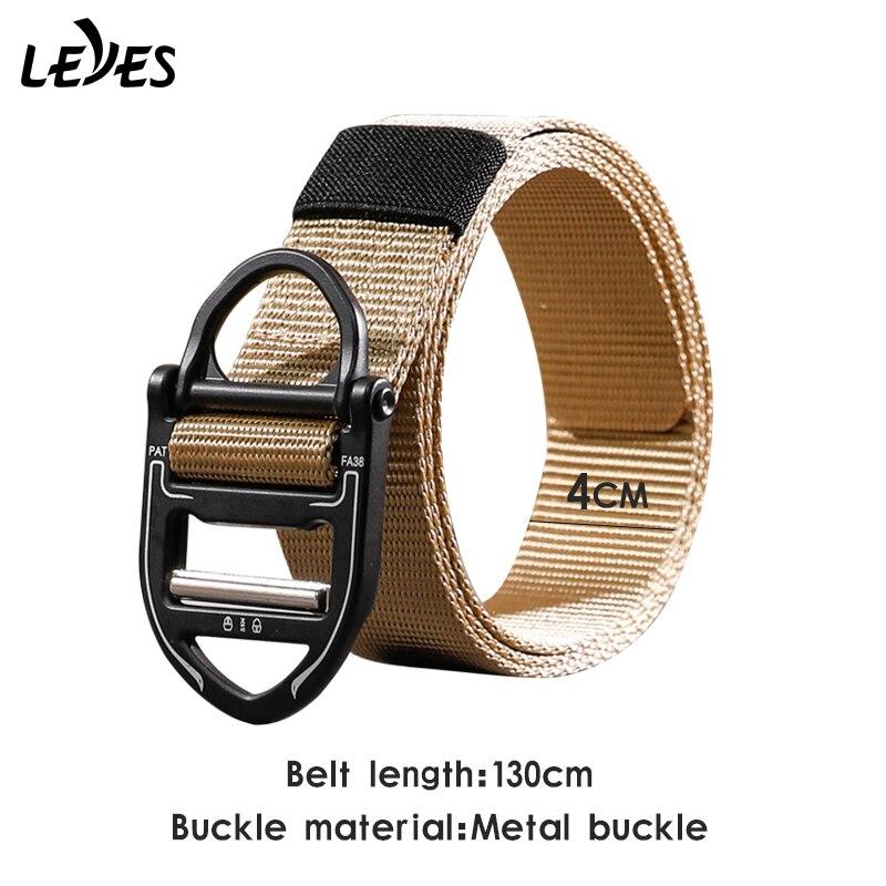 Gold buckle Outdoor belt carabiner Men nylon webbing wide Belts Descent training Canvas Tactical belt military alloy bunckle
