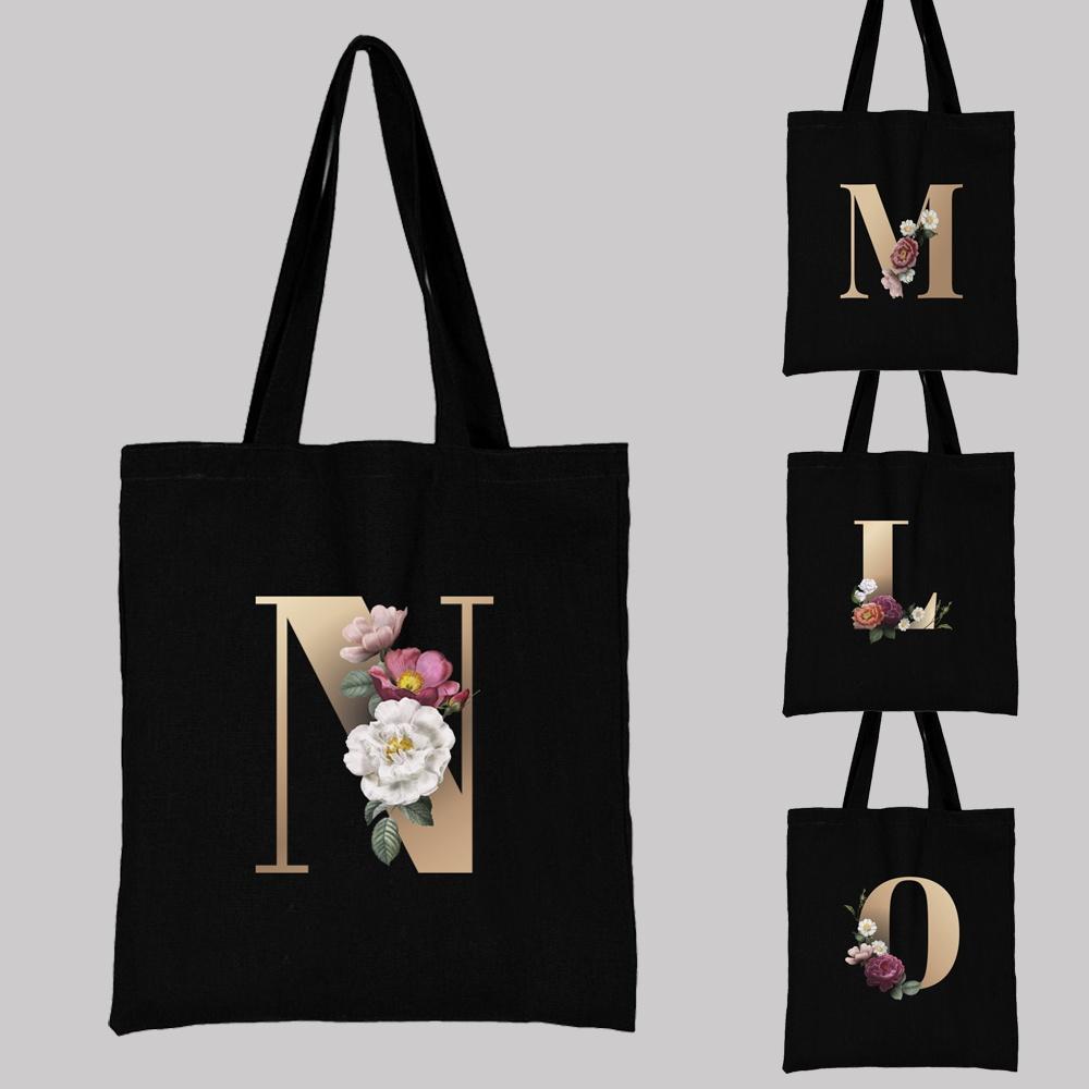 Ladies Shopping Bag All-match Letter Series Handbag Foldable Reusable Cloth Shopper Harajuku Style Bag Student Canvas Tote Bag