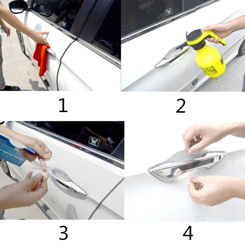 4 Buah/Set Handle Pintu Pelindung Film Stiker untuk Chevrolet Cruze 2010 Ford S-MAX Nissan Qashqai J10 Ford Fiesta audi A4