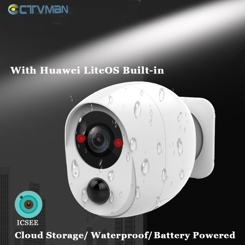 CTVMAN 1080P ICSEE External Battery Camera WIFI Outdoor IP Camera Battery Powered Wireless Camera Two Way Audio Surveillance