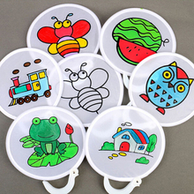 1PCS Graffiti Painting Folding Portable Fan Diy Blank Circular Decorative Toys For Children Kids Handmade Drawing Craft Gift