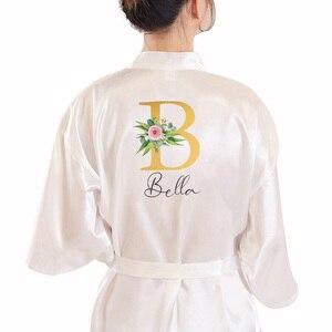 Image 2 - Abito da sposa nomi personalizzati sposa e damigella donore raso abiti personalizzati per regali madre della sposa/sposo squadra indumenti da notte
