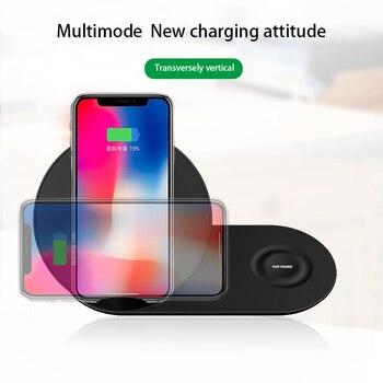 Podwójna bezprzewodowa ładowarka 2 w 1 dla iPhone 11 Pro XS Max XR iWatch 4 3 2 dla Samsung Galaxy Note 10 9 S10 Plus Gear S2 S3 S4 zegarek