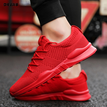 Moda klasyczne białe czarne czerwone buty męskie trampki wysokiej jakości oddychające siatki obuwie tenisowe męskie buty letnie tanie i dobre opinie ORVAB Flyknit Lace-up Pasuje prawda na wymiar weź swój normalny rozmiar Mokasyny Lato Y70578 Stałe Pot-chłonnym light