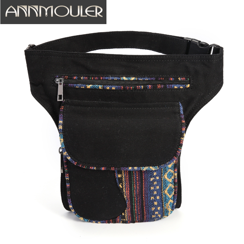 Annmouler Waist Bag For Women Bohemian Style Fanny Pack Ladies Hip Bag Patchwork Phone Pockets Bag Large Capacity Leg Bag Purse
