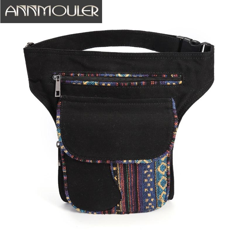 Annmouler Waist Bag For Women Bohemian Style Fanny Pack Ladies Hip Bag Patchwork Phone Pockets Bag Large Capacity Leg Bag Purse