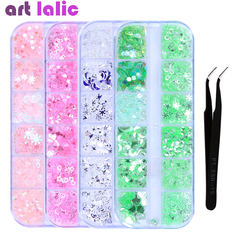 1 Box Candy Color Nail Glitter Sequins Mixed Design Snowflower Star Moon Sparkly Paillette Flakes Nail Art Decor With Tweezer