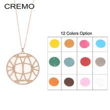 Cremo 12 Colors Reversible Leather Necklace Round Pendant Necklaces Chain Charm for Women & Pendants
