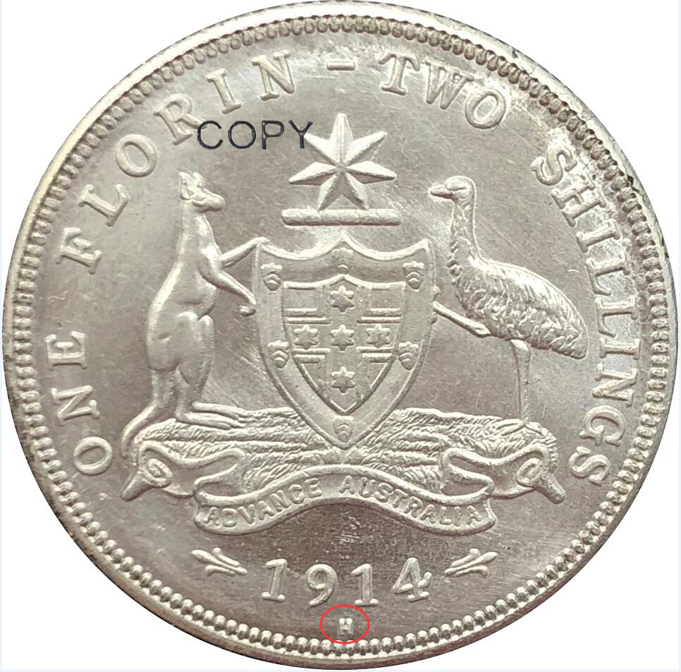 Australia 1 One Florin Two Shillings George V <font><b>1914</b></font> <font><b>1914</b></font> H Crowned Bust Left Brass Silver Plated Copy Coin image