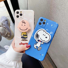 Cartoon Charlie Brown Dog phone case For iphone 7 8 Plus soft Folding stand Photo frame cover For iphone 11 Pro Max X XR XS MAX