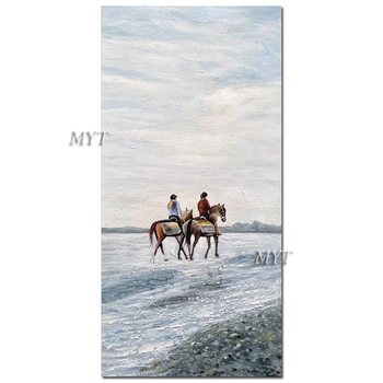 Pure Handmade Horse Riding Picture Oil Painting Wall Canvas Decor Art Unframed Bedroom Decoration Quality Oil Paintings Artwork