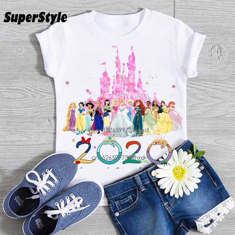 Kawaii/вечерние футболки принцессы с рисунком для дня рождения Детские топы для девочек, летняя забавная футболка Повседневная милая детская ...