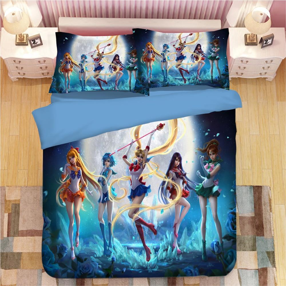 Sailor Moon Anime Bedding Set Duvet Covers Pillowcases Cartoon Sailor Moon Comforter Bedding Sets Bedclothes Bed Linen Bed Set