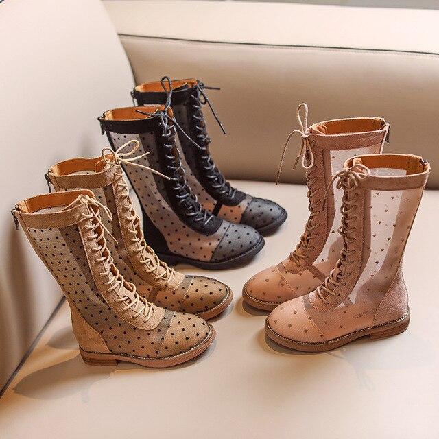 Wiosna dziewczynek buty do kolan dzieci Mesh księżniczka buty dzieci czarne buty marki miękka sukienka buty modne buty motocyklowe