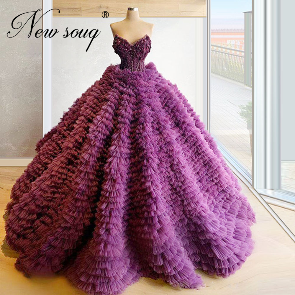2020 Tiered Puffy Pageant Gowns Custom Beading Evening Dresses For Saudi Arabic Vestido De Festa Purple Women Prom Dress Dubai
