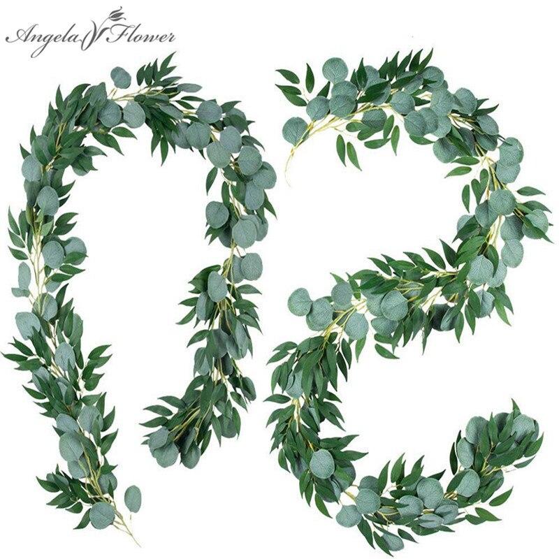2M asılı okaliptüs çelenk yapay bitkiler asma söğüt yaprağı Rattan bahçe ev dekor parti düğün sahne yılbaşı dekoru