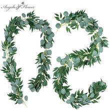 Guirnalda de eucalipto colgante de 2M, plantas artificiales, vid, sauce, hoja de ratán, decoración para el hogar, fiesta, boda, accesorios de decoración de Navidad